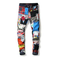 Mens Personality Colourful Jeans Punk Jeans Distressed Ripped Patch Denim Pants