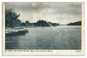 1908 On New Meadows River, Maine from Old Stone Wharf Postcard *342