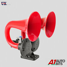 125dB 24V Compact Red Double Trumpet Super Loud Air Horn For Truck Train Boat