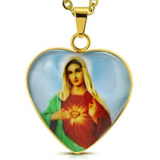 Stainless Steel Yellow Gold-Tone Love Heart Virgin Mary Pendant Necklace, 20""