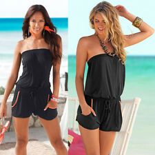 UK Womens Summer V Neck Beach Mini Casual Short Party Sun Dress Halter Playsuit Black Xxxxs()