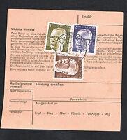 BRD Bund Paketkarte Mi.Nr. 636, 644 und 645  Bedarfsbeleg MiF (082)