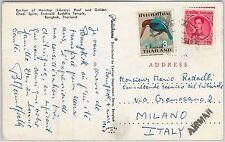 59231  -   THAILAND Siam - POSTAL HISTORY: POSTCARD to ITALY 1967 - BIRD
