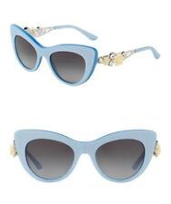 dc53e9b6ba6  490 Dolce Gabbana Flower Trellis Cat Eye Sunglasses Blue Embellished  Openwork