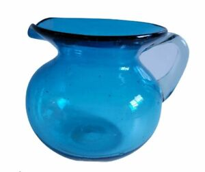 VINTAGE HAND BLOWN AQUA GLASS CREAMER WITH APPLIED HANDLE