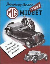 MG Midget TD SERIE & Y Tipo Saloon showroom BROCHURE original Export nel 150