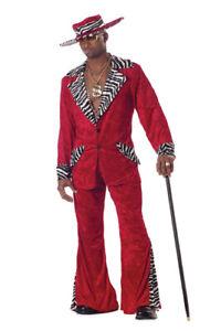 Adult Mens Red Pimp Zebra Halloween Costume