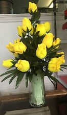 Silk Yellow Roses for Cemetary Vase 22'' NICE! Free Shipping