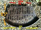 """FIRE GRILL GRATE VINTAGE CAST IRON FIRE PLACE OLD - 11.5"""" D - 17"""" FW - 12"""" BW"""