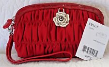 Brighton NWT $60 Cherry Red Pleated Silver Rose Cami Mini Pouch Wristlet