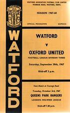 Watford v Oxford Utd 30th Sept 1967 Division 3 Programme