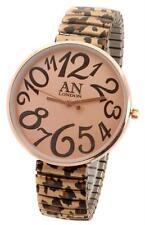 Leopard Designer Round Montre Expander Bracelet Grosse Display New York Londres Femmes