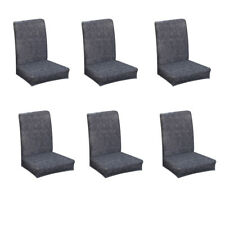 6Pcs Elastic Universal Stretch Dining Room Chair Slipcover Cover Dark Gray