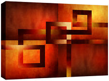 Large Autumn Abstract Canvas Art Picture Red Orange Brown 113 x 80 cm 3cm frame