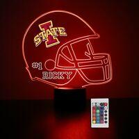 Iowa State Personalized Night Light Lamp NCAA College Football Gift Light LED