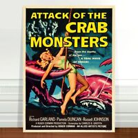 """Vintage Sci-fi Movie Poster Art CANVAS PRINT 36x24"""" Attack of the Crab Monsters"""