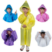 Outdoor Children Kids Hooded Jacket Rain Poncho Raincoat Cover Long Rainwear
