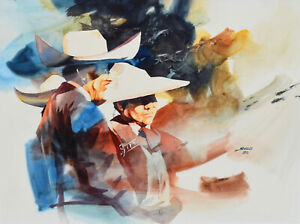 Charles Michael (Mike) Svob FCA Original Painting Bull Fighters Canadian Listed