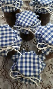 Gingham  jam or chutney 1lb pot covers with bands and ties  pack of 6