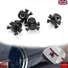 Black Skull Alloy Car Wheel Tire Tyre Valve Dust Caps Covers Tire Set of 4 UK