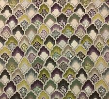"P KAUFMANN FLORENTINE PUTTY PURPLE GREEN FLORAL LEAF MULTIUSE FABRIC BTY 54""W"