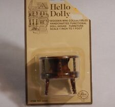 """TABLE #2402 Hello Dolly Dollhouse Furniture Vintage Wood Handcrafted 2.5""""t NOS"""