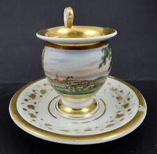 Antique Paris Chocolate Cup & Saucer, Vieux Paris, Topographical