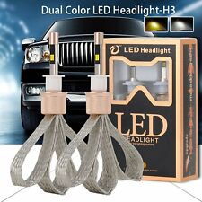 2pcs 80W 11000LM H3 LED Headlight Kit Fog Light Bulbs DRL 6000K 3000K Dual Color