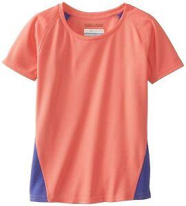 Girls Columbia Omni Wick Athletic Shirt Peach Purple 7 8 NWT 30 SPF Short Sleeve