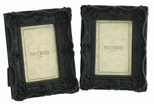 """TWINPACK Shabby & Chic Very Ornate Matt Black Photo Frames for   6""""x 4"""" pictures"""