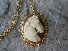 - Horse Lover Gift- Vet - Equine Horse Cameo Gold Tone Pendant Necklace - Unique