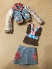 Barbie My Scene Doll Outfit Denim Jeans Skirt Jacket Brown Top Set