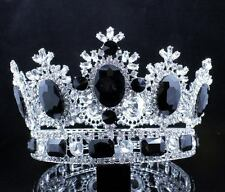 4 INCHES BEAUTY QUEEN BLACK CRYSTAL RHINESTONE LG TIARA CROWN PAGEANT T2131BLK