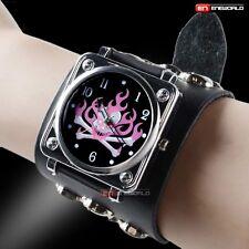 Classic Steampunk Black Leather Skull Gothic Wrist Quartz Mens Watch Bracelet