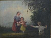 19th/20 Century Oil on Canvas - Children collecting Berries