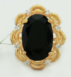 GENUINE 8.57 Cts BLACK ONYX RING 14k Gold Plated * New With Tag * Size 8.5