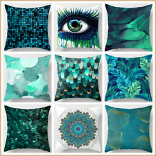 """Cushion COVER Teal Blue White Home Decor Abstract Decorative Pillow Case 18x18"""""""