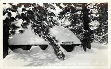 1930-1950 RPPC Crystal Lake Store in Snow CA San Gabriel Mts. Frashers Unposted