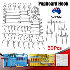 50pcs/set Shop Display Hangers Metal Grid Wall Pegboard Peg Hook Slatwall Kit