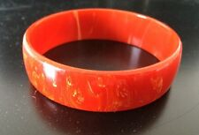 Persimmon Red Orange Marbled Bakelite Bangle Bracelet