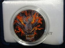 """2004 Proof Silver Eagle Colorized """" Flamed Dragon """"          1 OF 1 C PICS"""