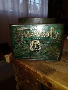 TUXEDO TOBACCO TIN   one pound OVAL TOP CANISTER ~