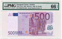 EUROPEAN UNION (AUSTRIA) banknote 500 Euro 2002 PMG MS 66 EPQ Gem Uncirculated