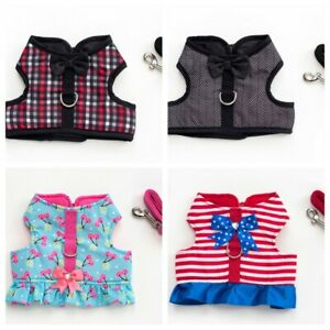 Dog Harness & Lead Set Coat Small Breeds Nautical Check Pink Bows XS-M