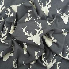 Art Gallery ~ Buck Forest Moonstone KNIT Jersey Fabric / deer dressmaking grey