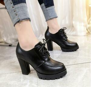 Fashion Preppy Style Womens Date Pumps  Chunky Heel Platform Lace Up Office Shoe