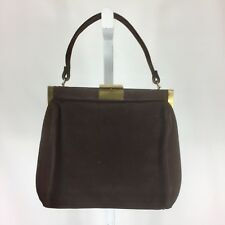 Vintage Mayer New York 1950s Handbag Purse Brown Suede With Gold Accents
