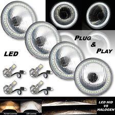 "5-3/4"" Stock H4 White SMD Angel Eye Halo Headlight w/ 360° LED Light Bulb Set"