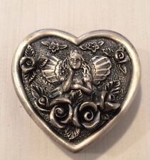 Nib Pewter Angel & Roses Heart Shaped Covered Box New Old Store Stock #Tj-330S