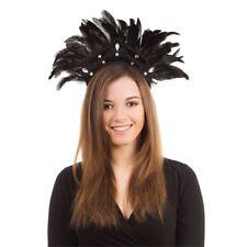 Black Feather Carnival Headdress - Fancy Dress Red Fancy Dress Masquerade